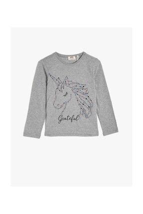 Koton Gri Kız Çocuk T-Shirt 0