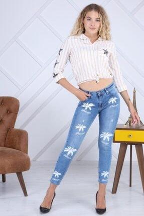 PERİSCOPE Kadın Mavi Ön Baskı Jeans 0