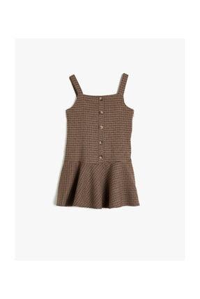 Koton Kahverengi Ekoseli Kız Çocuk Elbise 0