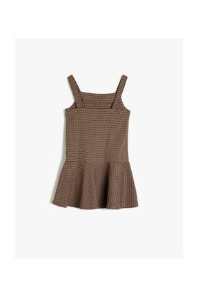 Koton Kahverengi Ekoseli Kız Çocuk Elbise 1