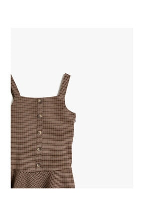 Koton Kahverengi Ekoseli Kız Çocuk Elbise 2