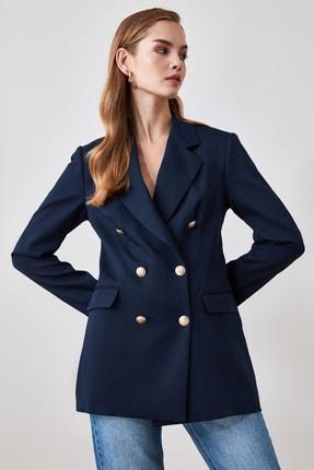 TRENDYOLMİLLA Lacivert Düğme Detaylı Blazer Ceket TWOSS20CE0024 2