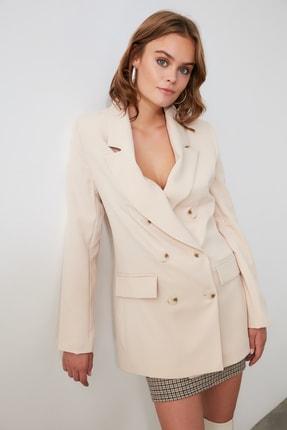 TRENDYOLMİLLA Bej Düğmeli Blazer Ceket TWOAW20CE0130 3