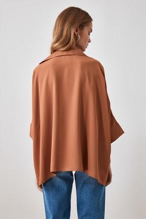 TRENDYOLMİLLA Camel Oversize Gömlek TWOSS20GO0200 4