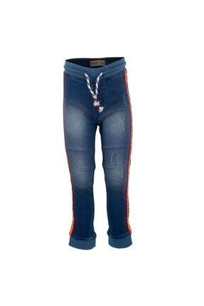 تصویر از A.mavi Renkli Bel Lastikli Yanlar Renkli Şeritli Ip Büzmeli Kot Erkek Çocuk Pantolon pc 214790