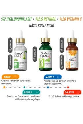 Carino E Bella C Vitamini %20 + Hyaluronic Acid %2 + Retinol %2.5 Yüz Bakım Serumu 3'lü Set 30ml 1