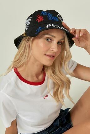 Y-London 13250 Nakış Detaylı Siyah Bucket Şapka 2