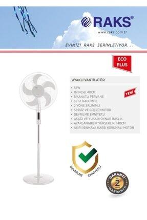 Raks Eco Plus 16 Inç 5 Kanatlı 2 Yöne Salınımlı Ayaklı Vantilatör 55 Watt Beyaz 1