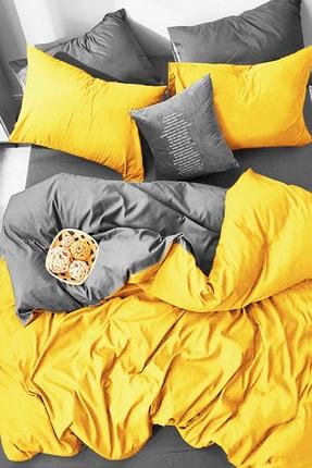 ALAMODE Doğal Pamuk Çift Kişilik Nevresim Takımı Sarı Gri Rnfc - 21444558 0
