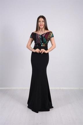 giyimmasalı Üstü Payet Altı Krep Balık Abiye Elbise - Siyah 2