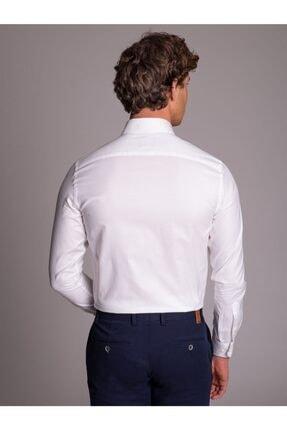 Dufy Beyaz Pamuklu Oxford Klasik Erkek Gömlek - Slım Fıt 2