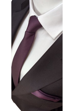 Elegante Cravatte Mürdüm Renk Armürlü Dokuma Kravat Ve Mendil 0