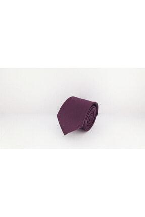 Elegante Cravatte Mürdüm Renk Armürlü Dokuma Kravat Ve Mendil 2
