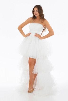 6ixty8ight Ekru Tül Fırfırlı Uzun Abiye Elbise 1