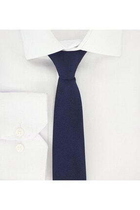 Elegante Cravatte Lacivert Renginde Armürlü Dokuma Kravat Ve Mendil 1