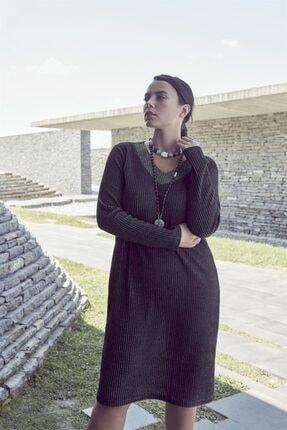 Rmg Kadın Siyah Yaka Detaylı Simli Büyük Beden Triko Elbise 1