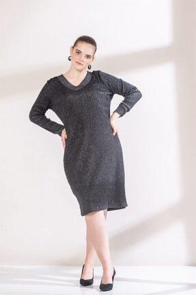 Rmg Kadın Siyah Yaka Detaylı Simli Büyük Beden Triko Elbise 3