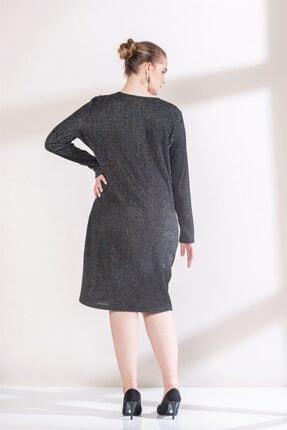 Rmg Kadın Siyah Yaka Detaylı Simli Büyük Beden Triko Elbise 4