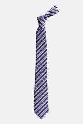 1001 Kravat Erkek Gri Çizgili Ipek Kravat 1