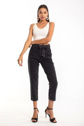 Denim Republic Kadın Siyah Kemerli Yüksek Bel Mom Jeans 1