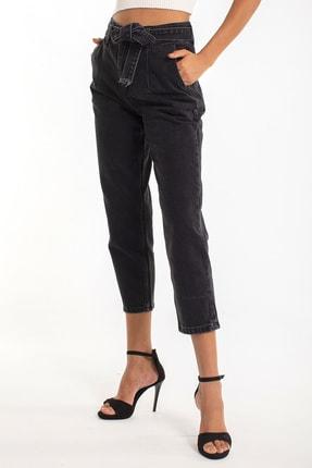 Denim Republic Kadın Siyah Kemerli Yüksek Bel Mom Jeans 2