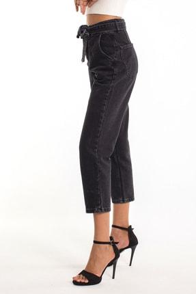 Denim Republic Kadın Siyah Kemerli Yüksek Bel Mom Jeans 4