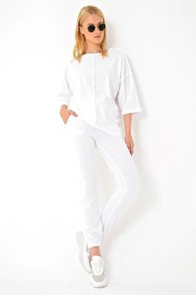 Trend Alaçatı Stili Kadın Beyaz Önü Dikişli Eşofman Takımı ALC-X4926 1