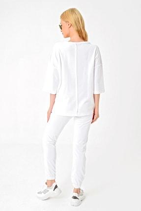 Trend Alaçatı Stili Kadın Beyaz Önü Dikişli Eşofman Takımı ALC-X4926 2