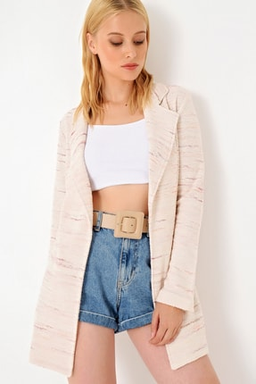 Trend Alaçatı Stili Kadın Pudra Kırçıllı Tweet Ceket ALC-251-146 2