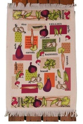 Nur iş havlu Beyaz Kadife Saçaklı Sebzeler Baskılı Mutfak Havlusu 2'li 40x60 1