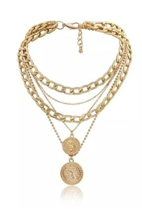 ESUSO 4li Altın Kaplama Madalyon Bayan Zincir Kolye 1
