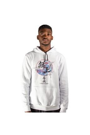 iba tekstil Erkek Beyaz Kapşonlu Baskılı Sweatshirt 0