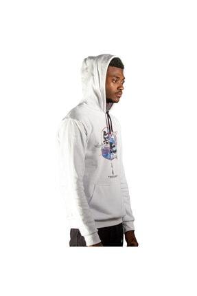 iba tekstil Erkek Beyaz Kapşonlu Baskılı Sweatshirt 1