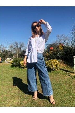 İpes Butik Kadın Buz Mavisi Geniş Salaş Kesim Jean Kot Pantolon 1