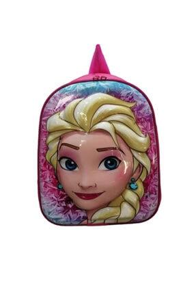Frozen Kız Çocuk Pembe 5d Parlak Kabartmalı Anaokulu ve Günlük Kullanım Sırt Çantası 0