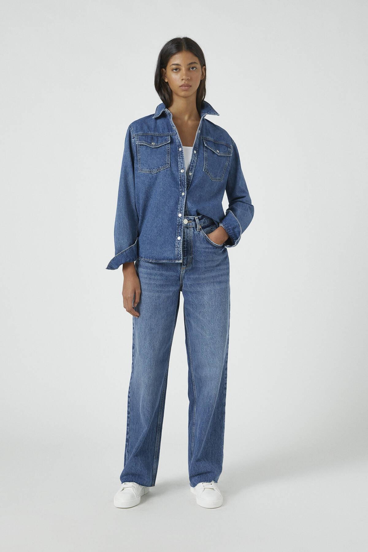 Pull & Bear Kadın Mavi Süper Yüksek Bel Geniş Paça Jean 09683325 1