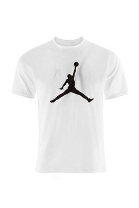 Okeanos Erkek Beyaz Jordan Baskılı Basketbol Tshirt 0