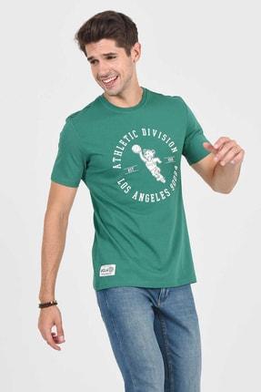 Ucla ADELANTO Yeşil Bisiklet Yaka Baskılı Erkek Tshirt 3