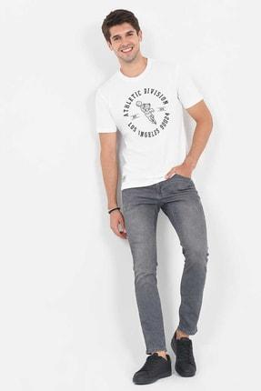 Ucla ADELANTO Beyaz Bisiklet Yaka Baskılı Erkek Tshirt 2