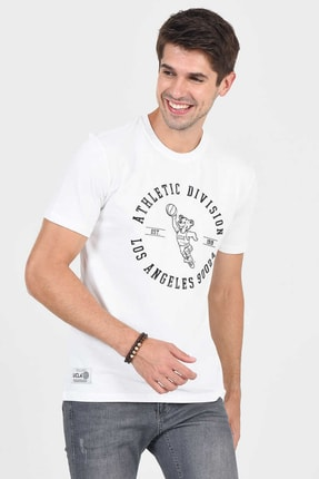 Ucla ADELANTO Beyaz Bisiklet Yaka Baskılı Erkek Tshirt 3