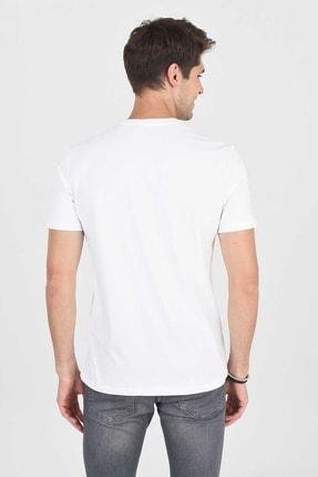 Ucla ADELANTO Beyaz Bisiklet Yaka Baskılı Erkek Tshirt 4