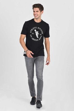 Ucla ADELANTO Siyah Bisiklet Yaka Baskılı Erkek Tshirt 0