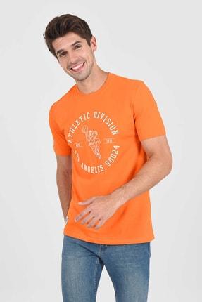 Ucla ADELANTO Turuncu Bisiklet Yaka Baskılı Erkek Tshirt 1