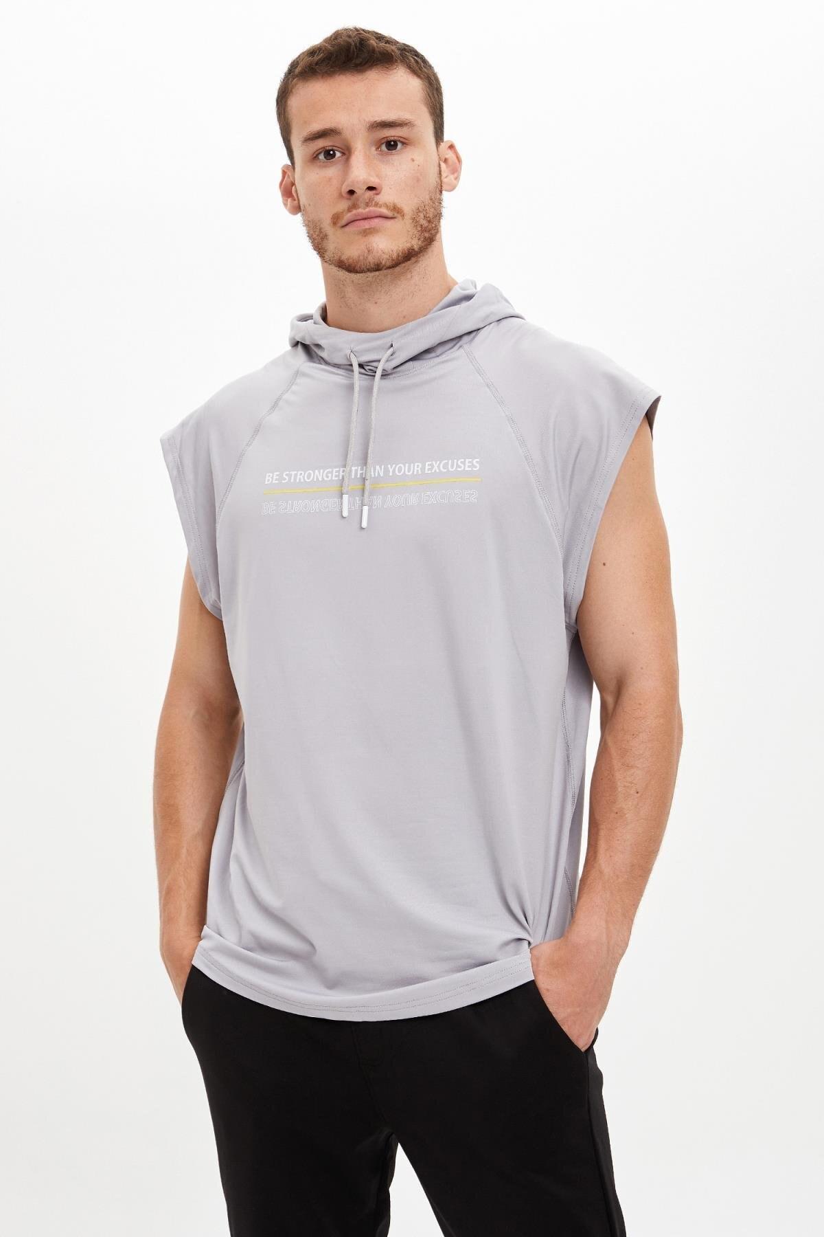 Defacto Baskılı Slim Fit Kolsuz Spor Sweatshirt 0