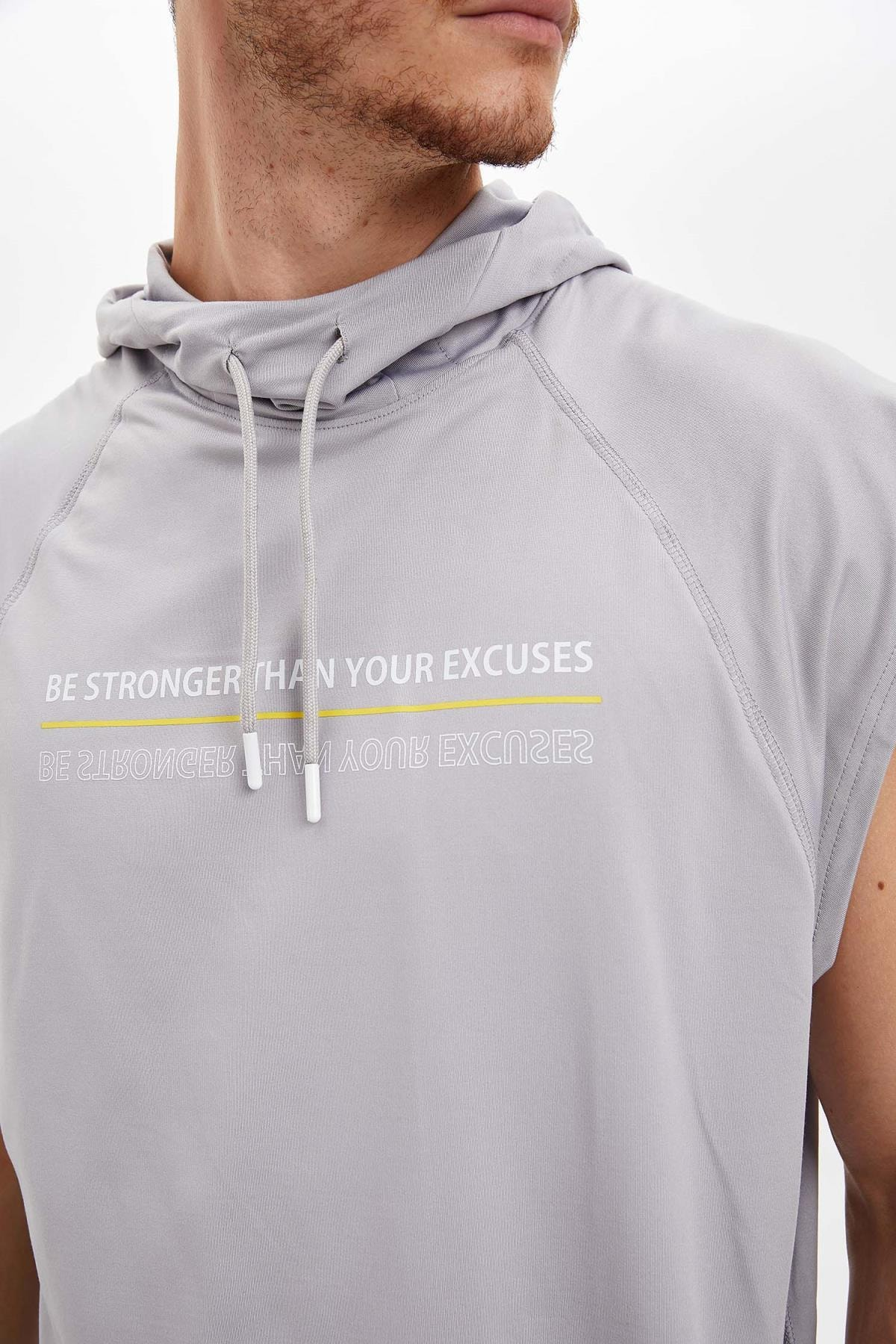 Defacto Baskılı Slim Fit Kolsuz Spor Sweatshirt 2