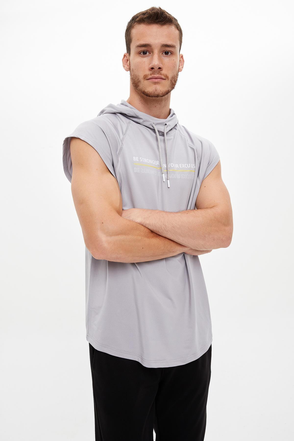 Defacto Baskılı Slim Fit Kolsuz Spor Sweatshirt 4
