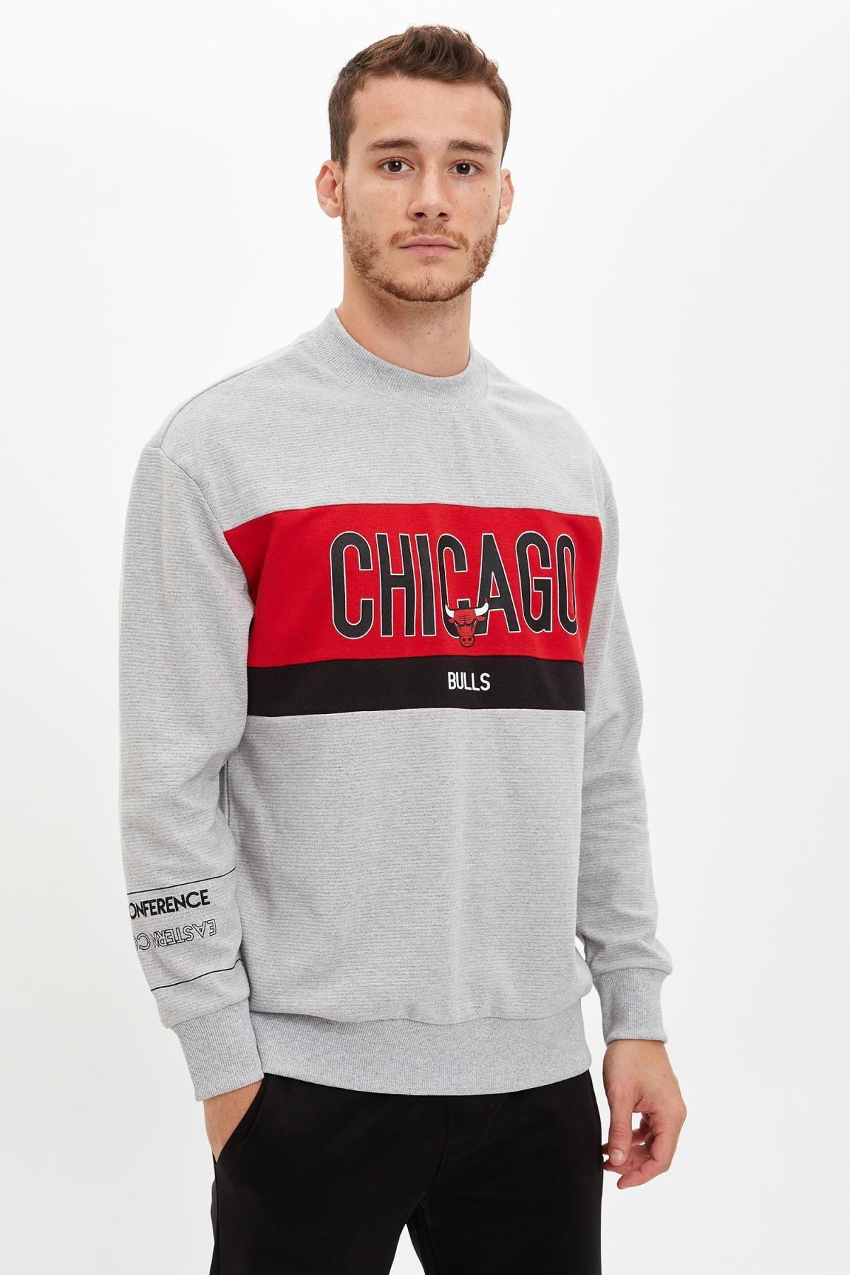 Defacto Unisex Gri Nba Lisanslı Oversize Fit Sweatshirt 0