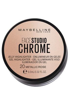 Maybelline New York Jel Aydınlatıcı - Face Studio Chrome 20 Metallic Rose 30175778 0