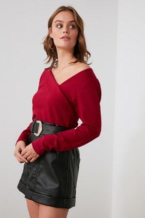 TRENDYOLMİLLA Bordo Yaka Detaylı Örme Bluz TWOAW21BZ0500 1