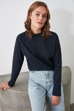 TRENDYOLMİLLA Lacivert Uzun Kollu Dik Yaka Örme T-Shirt TWOAW20TS0233 0
